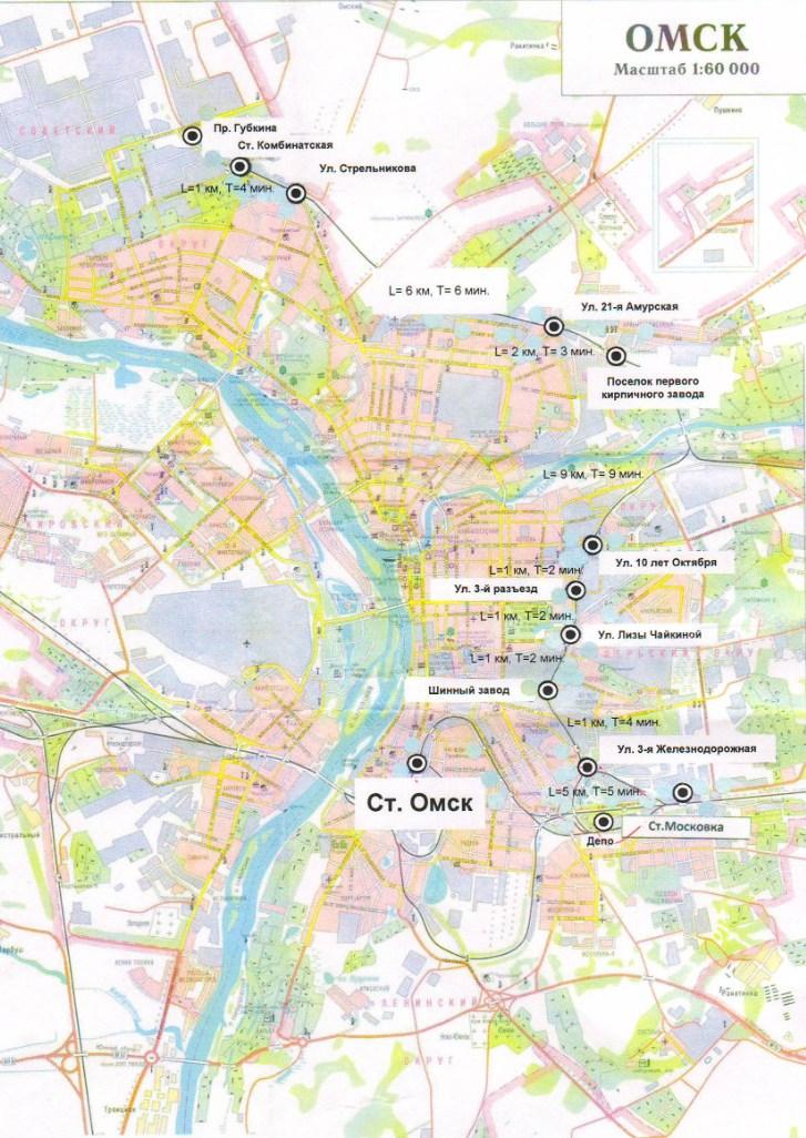 Схема городской электрички в Омске.